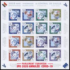 PE750-16FND : feuillet 16 vignettes ND Parlement européen - Année de Gaulle 2020
