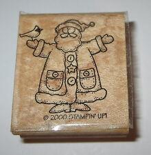 Santa Claus Stampin' Up! Cardinal Bird Rubber Stamp Christmas Buttons Hat Coat