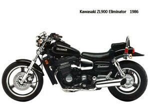 Motorcycle Canvas Picture Kawasaki ZL900 Eliminator 1986 Canvas 16x12 inch