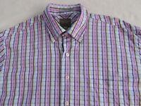 XMI Sport Men's 100% Cotton L/S Button Down Purple, Green, Blue Plaid Shirt - XL