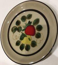 Vintage Strawberries by Sears Chop Plate Platter Stoneware Brown Verge Japan