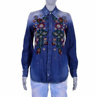 DSQUARED2 DSQUARED Western Floral Embroidery Jeans Denim Shirt Blouse Blue 07205