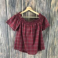 Socialite Top Off The Shoulder Medium Women's Red Boho Festive Holiday Casual