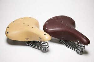 Leather Bicycle Saddle with chrome spring suspension rails