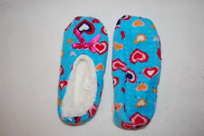 Girls Fuzzy Babba Slippers Sherpa Lined Turquoise w/ Hearts Shoe Size 13-4