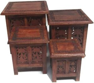Antique Hand Carved Foldable Indian Wooden Table | Side Coffee Tables