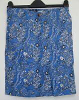 Next Linen Blend Blue Paisley Print Summer Linen Blend Skirt Size 8 - 22