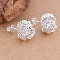Simple Fashion Ball Slide 925 Silver Plated Ear Stud Earrings Women Jewelry Gift