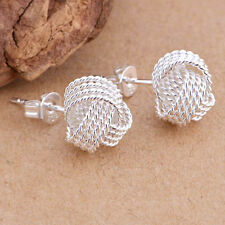 Simple Fashion Ball Slide 925 Silver Plated Ear Stud Earrings Women Jewelry Gift