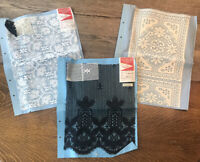 VTG Lot Of 3 Stern and Stern Quality Fabric Sample Cut Textiles Lace White Black