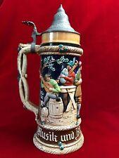 """Large 05L Antique German Beer Stein 11.75"""" Musik und Bier das ist mein Plasir"""