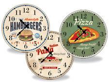 Orologio Rotondo Da Parete 27.2 Cm Per Cucina In Legno Hamburger Pizza Spaghetti