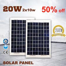 New 2X 10W 12V Solar Panel Kit Caravan Camping Power MONO Battery Charging