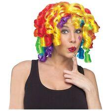 Rainbow Wig Adult Curly Doll Clown Costume Halloween Fancy Dress