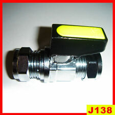 12MM GAS VALVE CP CHROME ISOLATION STOP TAP MINI BALLVALVE YELLOW LEVER TAP NEW