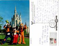 Postcard Disney World 1983 Mickey Mouse Goofey Pluto Posted Magic Kingdom 1B