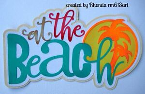 Summer Beach boy girl paper piecing title premade scrapbook pages  by Rhonda
