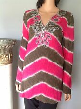 Tunic Top Inc International Concepts Rayon Tie Dye Sequences Hip Pink Brown