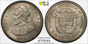 PANAMA 25 CENTIMOS 1904 PCGS MS62