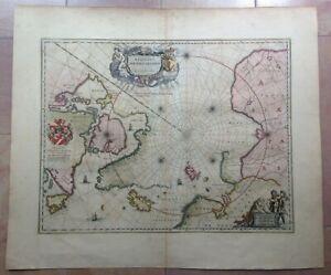 NORTH POLE 1645 WILLEM BLAEU UNUSUAL LARGE ANTIQUE ENGRAVED MAP 17e CENTURY