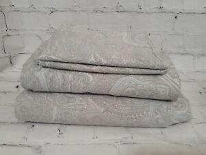Ralph Lauren Coral Beach Paisley Grey Blue 4PC Full Sheet Set 100% Cotton Grey