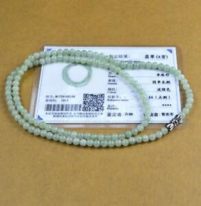 Green certificate 100% Natural A JADE JADEITE Bead Beads Necklace