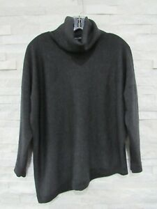 Eileen Fisher Charcoal Merino Wool Jersey Relaxed Asymmetrical T-Neck Sweater M