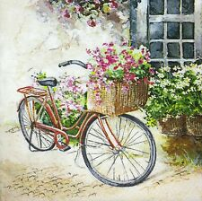 3 x Single Paper Napkins For Decoupage Craft Tissue Bicycle Bike W Flowers M266