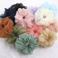 Women Elastic Organza Hair Ring Chiffon Scrunchie Rubber Band Hair Ties Colorful