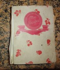 Vintage Hand Written Cookbook Recipe Book 1940 Lots of Clippings Dated 1942