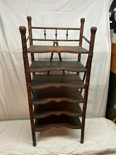 Vintage Early 1900s  Modern English BAMBOO RATTAN Magazine Rack STAND Side TABLE