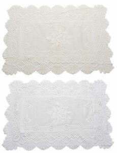 """Monica Lace Traycloth Pack of 2 Vintage Rose Pattern Table Runner Mat 16"""" x 24"""""""