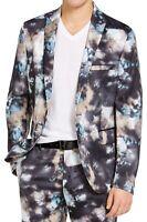 INC Men Blazer Black Blue Size 2XL Slim Fit Tie-Dye Peak-Lapel 2-Button $149 061