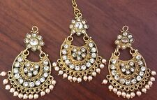 Jhumka Indian Earrings Jhumki Kundan Tikka Gold Jewelry Pearl Bollywood Polki US