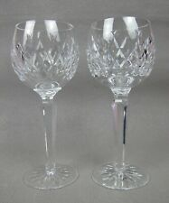 "Pair of Waterford Boyne cut crystal glass tall WINE HOCK GLASSES. 7 3/8"" 170 ml"