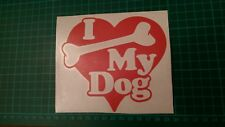 I love my dog sticker, vinyl graphics, home, window, car, bumper sticker, red