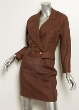 CHANEL BOUTIQUE VINTAGE Brown Linen Double-Breasted Cropped Jacket Skirt Set 34