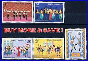 TURKEY 1969 FOLK DANCES SC#1820-24 MNH CV$5.00 (five !!!!) COSTUMES, MUSIC