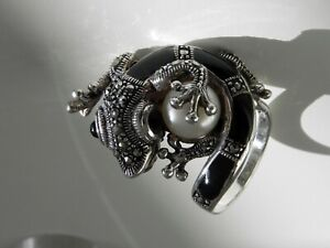 ✨INCREDIBLE✨ 12g sterling silver 925 marcasite onyx pearl lizard statement ring