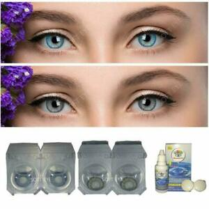Soft Eye Aqua Blue & Grey Color Lens with Case and Solution 2 Pair
