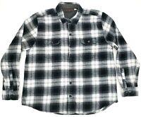 Woolrich Long Sleeve Button Front Plaid Flannel Shirt Mens XXL Black Gray EUC