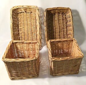 Set Of Four Storage Wicker Baskets Two Sizes Home Office Study Kids Room