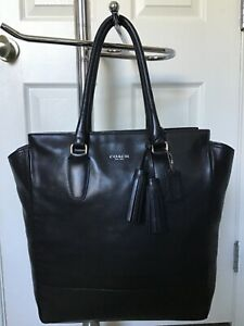 COACH TANNER TASSEL VERY LARGE BLACK LEATHER TOTE CARRYALL IN GREAT CONDITION