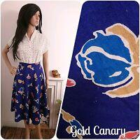 Vintage 70s Blue Tulip Floral Full Skirt 40s 50s 6 8 34