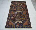 3'2 x 6'2 Handmade vintage afghan shikargah animal design unique wool area rug