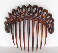 Antique Victorian Carved Horn Hair Comb Spiral Loops Corkscrew Double Helix