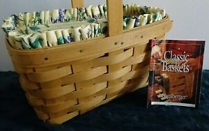 """Vintage Collectible 1999 Longaberger Basket"" w/Floral&Plastic Liners Never Used"