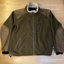 Kuhl Alpenwurxs Fleece Jacket Green Faux Leather Patches Men XL Coat $158