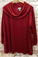 Catherines womens 3X velour cowl neck tunic shirt top red new fireside E6B2