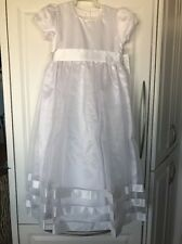 New Strasburg Children Flower Girls 7 White Organza Satin Communion Dress NWT